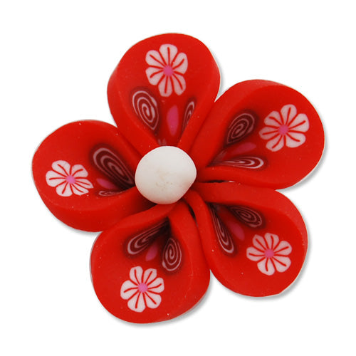 25MM HandMade And Flat Back Polymer Clay Flower Beads,Red,Side Drilled Hole Size 2.5MM,Lead Free,Sold 50 PCS Per Package