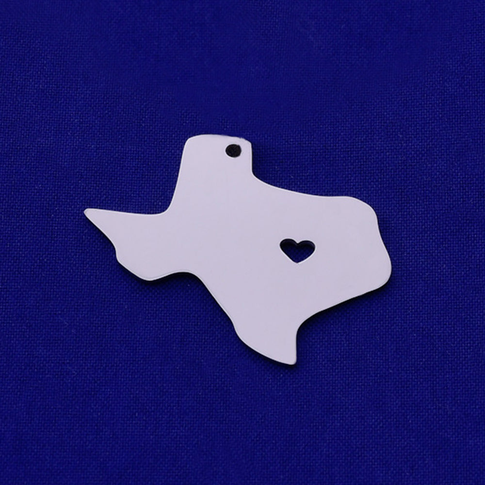 1 pcs about 30x25mm silver Stainless Steel map pendant Stamping blank Jewelry supplies Texas-TX  18 Gauges