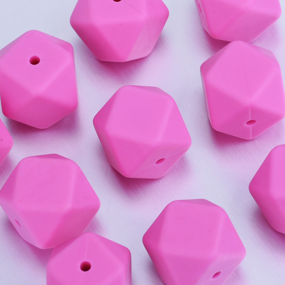17*17*17MM Hexagon Silicone Teething Beads Sensory Beads BPA free silicone beading Food grade silicone Rose red 10pcs