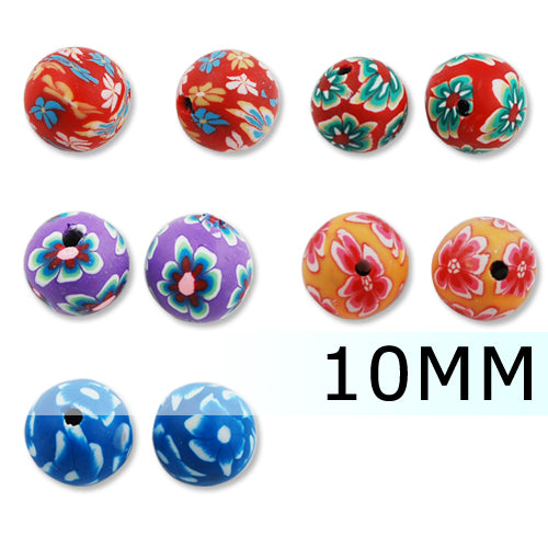 10MM Round Polymer Clay Beads,Mixed Colors,Hole Size 2 MM,Lead Free,Sold 200 PCS Per Package