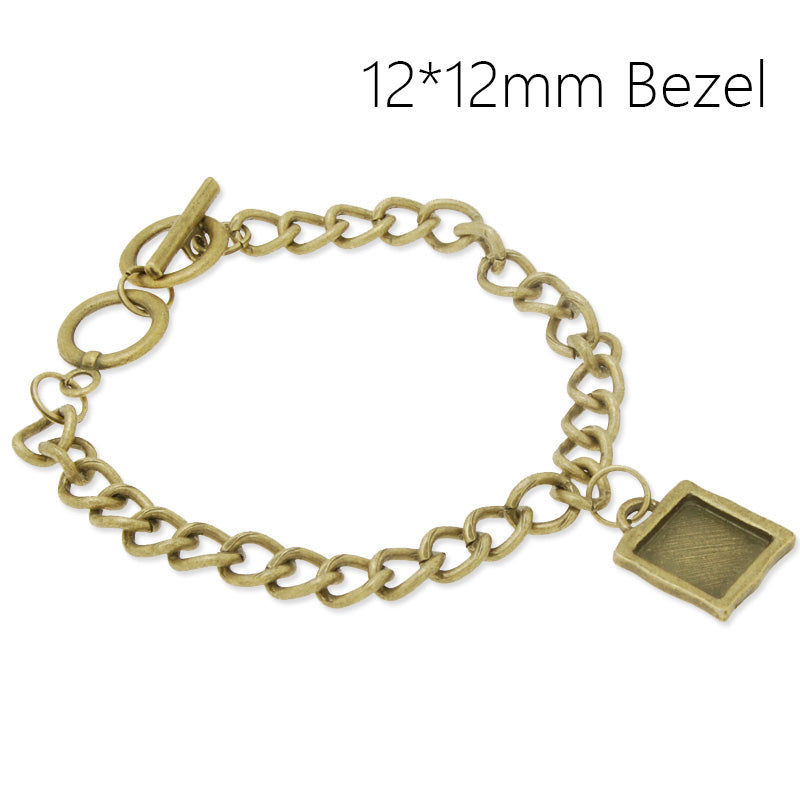 12*12mm New arrived Antique Bronze Bracelet Setting,Square Blank Bezels for Cabochon,Zinc Alloy filled,5pieces/lot