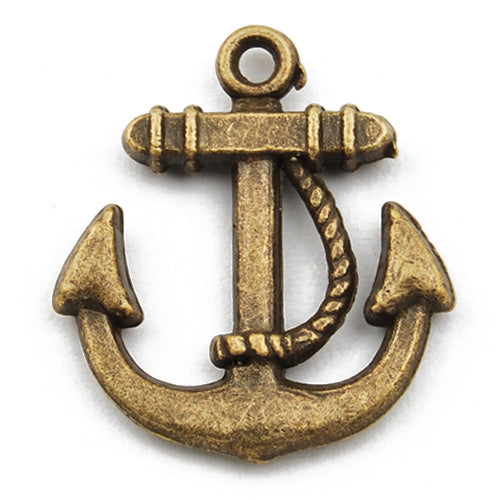23*20mm Vintage antique bronze Zinc alloy Charms,anchor,sold 150 pcs per pkg