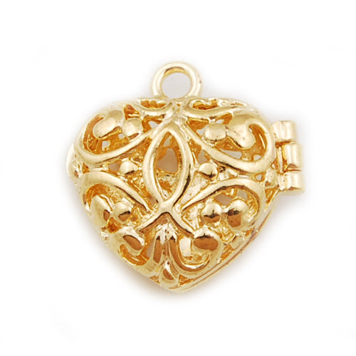 19*18 mm Gold plated Filigree Heart Brass Cage Pendant ,Sold 25 pcs per pkg