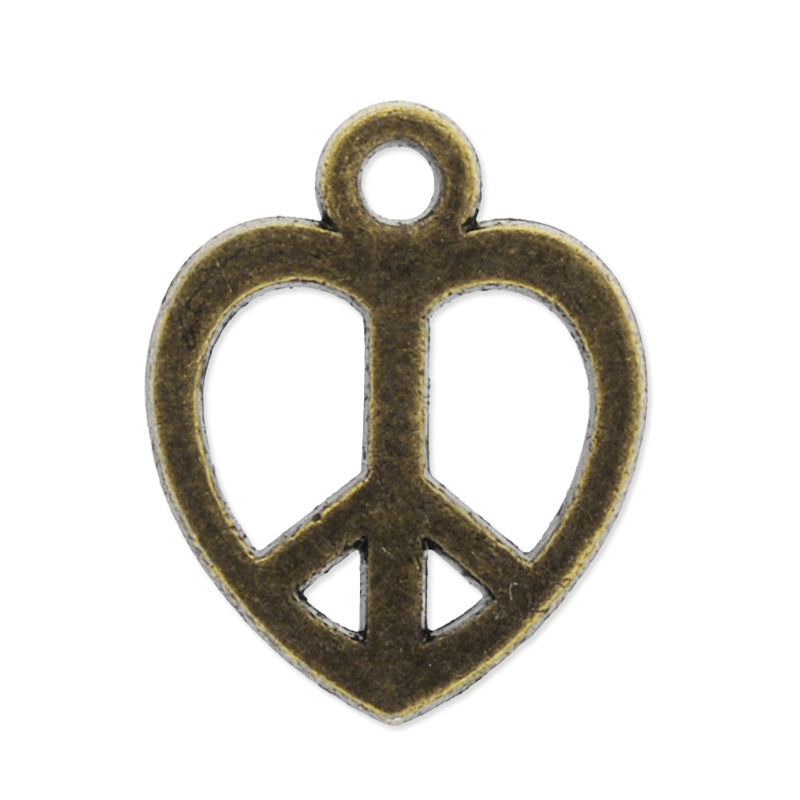 11.5x14mm antique bronze plated haning charms,peace symbol,zinc alloy filled,modern jewelry charms, 50pieces/lot