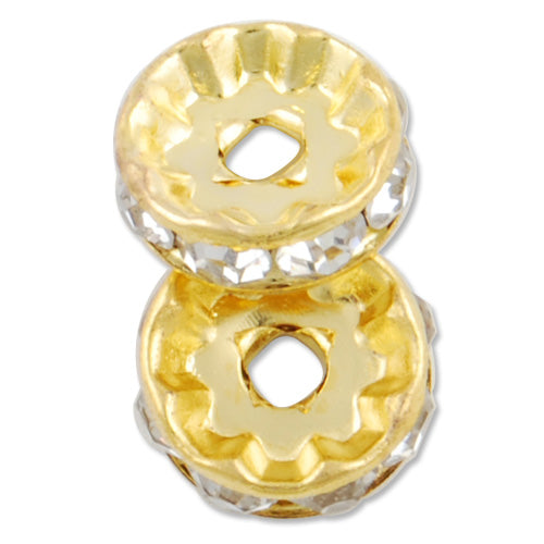 10MM Diameter Rhinestone Spacer Beads,Crystal Diamond,Brass,Gold Plated,Thick About 3.8MM,Hole:About 1.5MM,Sold 100 PCS Per Package