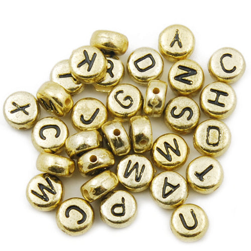 500 Grams 4*7MM Round  Metalized Alphabet Acrylic Beads,Gold,About 3600PCS Per Pkg