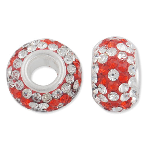 12*7 MM High Quality Round Orange-Crystal Pave Crystal Beads,Skyeye,Brass Hole,Hole Size 4.3MM,Sold 5 PCS Per Package