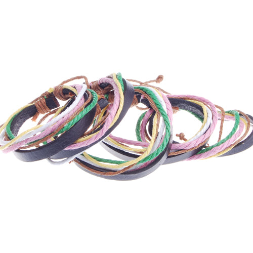2013-2014 Simple fashion Color leather string bracelet,Multi-layer leather hemp rope woven bracelet,Mixed Colored,sold 10pcs per pkg