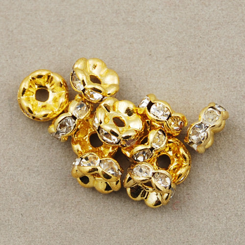 6MM Diameter Rhinestone Spacer Beads,Clear AB Color,Brass,Golden Plated,Thick About 3MM,Hole:About 1MM,Sold 100 PCS Per Package