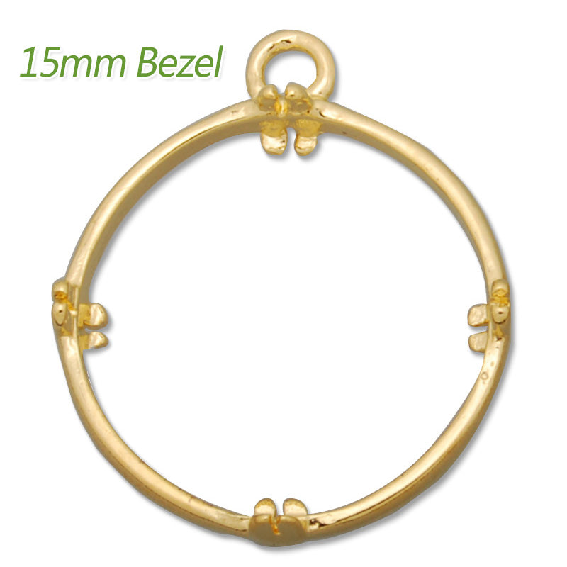 15MM Round Brass Gemstone Bezel,Gold,charms links,sold 20pcs per lot