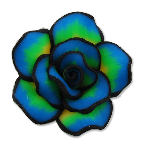 40MM HandMade And Flat Back Polymer Clay Flower Beads,Blue,Side Drilled Hole Size 2.5MM,Lead Free,Sold 50 PCS Per Package
