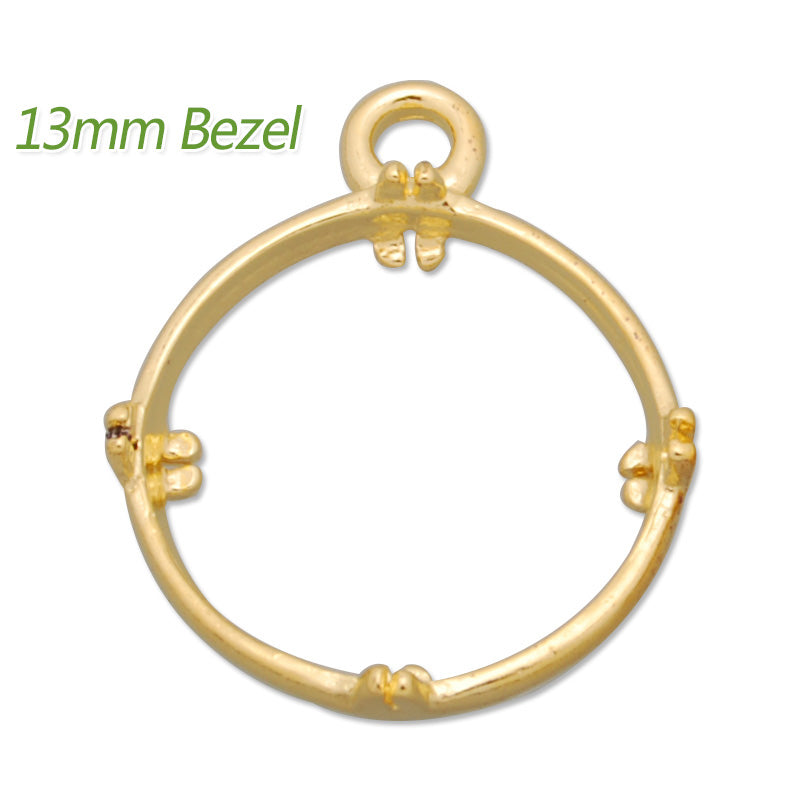 13MM Round Brass Gemstone Bezel,Gold,charms links,sold 20pcs per lot