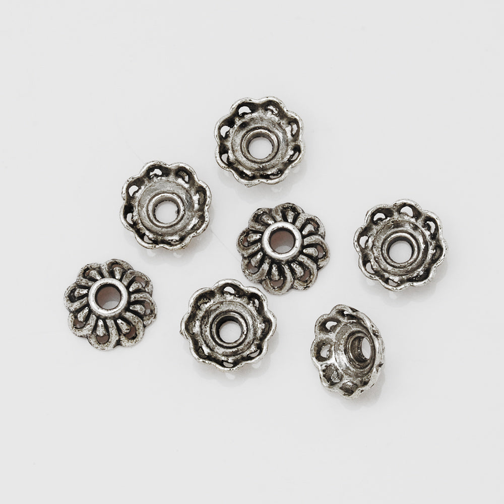 10mm Diy Bead Caps,Antique Silver Filigree Bead Caps,Jewelry Metal Findings,sold 100pcs/lot