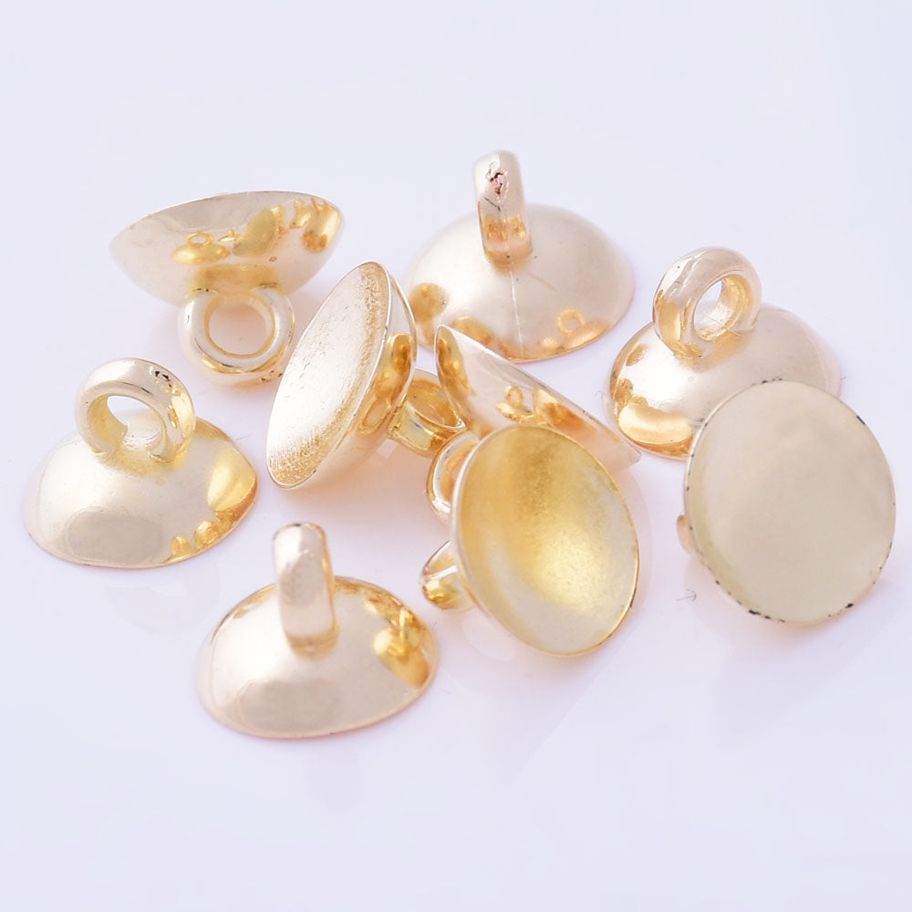 Gold plastic Thin discs Glass bottles Buckle with Top Necklace Loop bezel cup 10mm  Aperture 2mm,100pcs 10171604