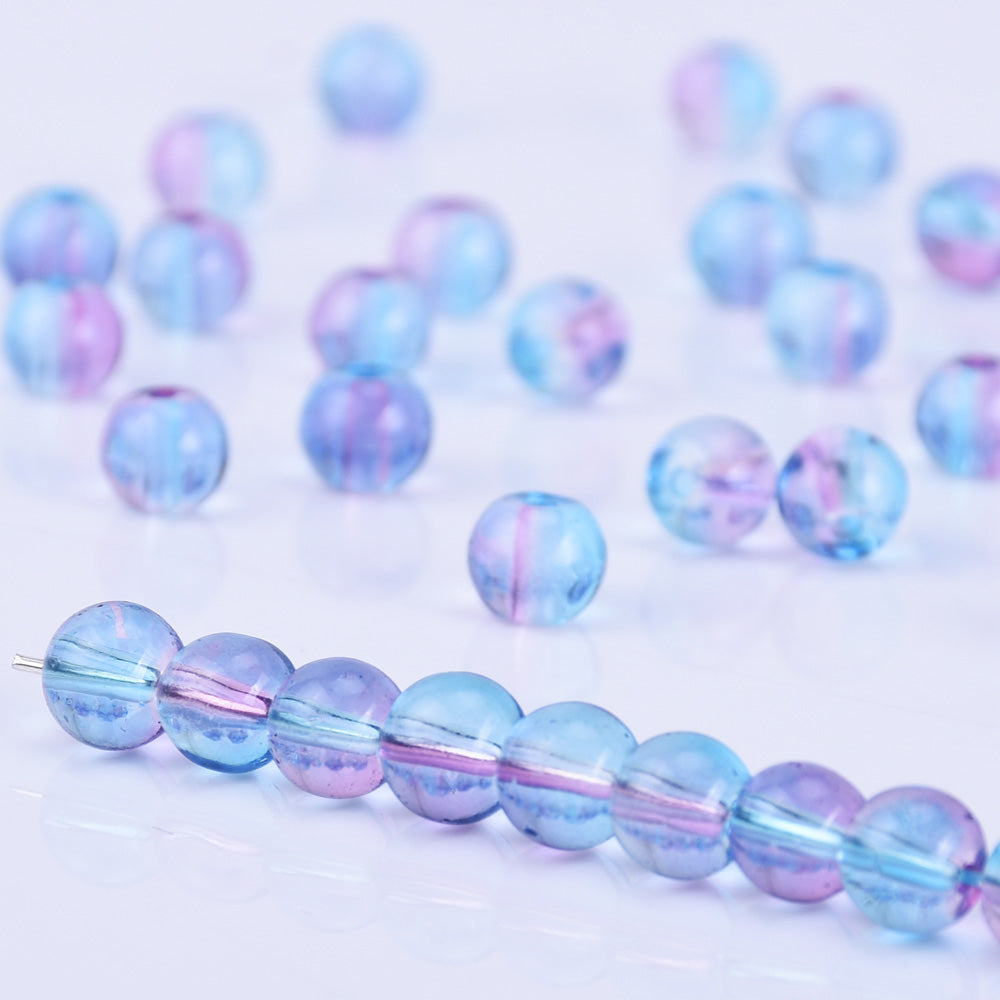 6mm Glass Round Beads Glass Ball Beads Czech Glass round Seed Beads Jewelry Making Beading Supplies Blue and red wine 50pcs