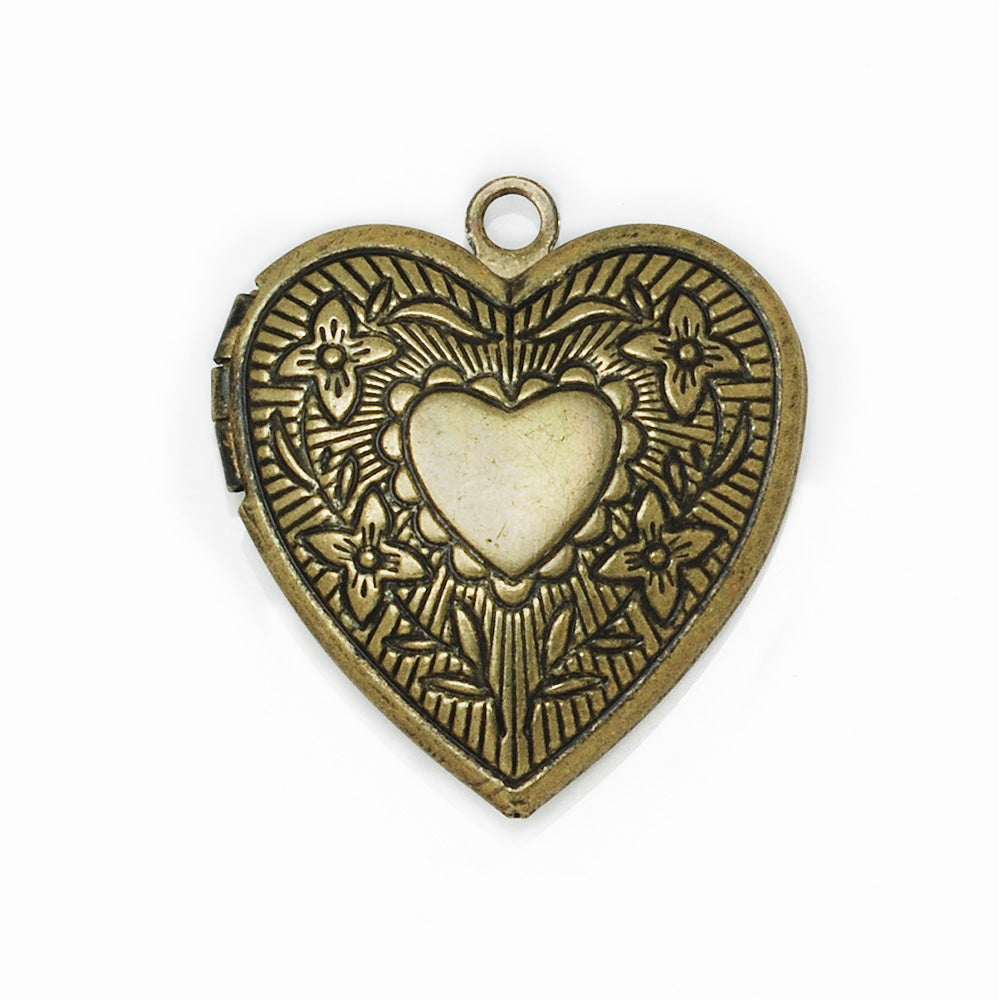 22.5*24.5 mm Antique Brass Heart Lockets Pendant Victorian Style,Sold 20 pcs per pkg
