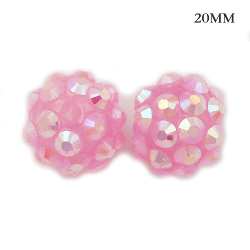 18*20 MM Round Resin Pave Beads,Pink Base,Clear AB,Sold 20PCS Per Package