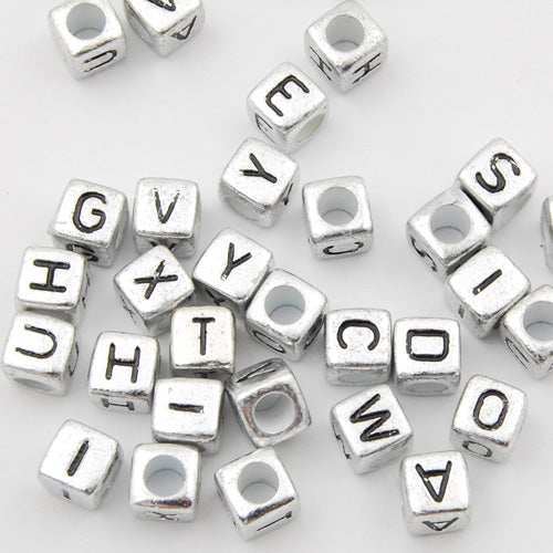 6*6 MM Cube Metalized Alphabet Acrylic Beads,Sold per PKG of 2800 PCS,A~Z available