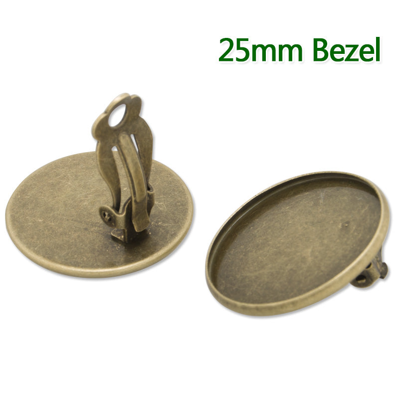 25MM Round  Antique Bronze  Plated Ear Clip,earring bezel,fit 25MM glass cabochons,buttons,sold 20pcs per lot