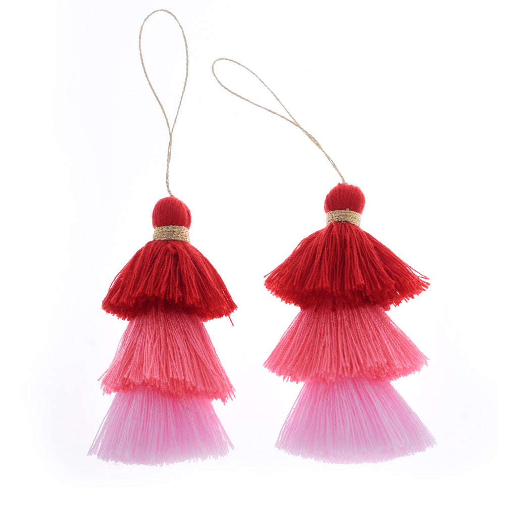 Umbre Puffy Tassels Triple Fringe Jewelry Pendants Tassels for jewelry making Earrings Necklace,2pcs/lot