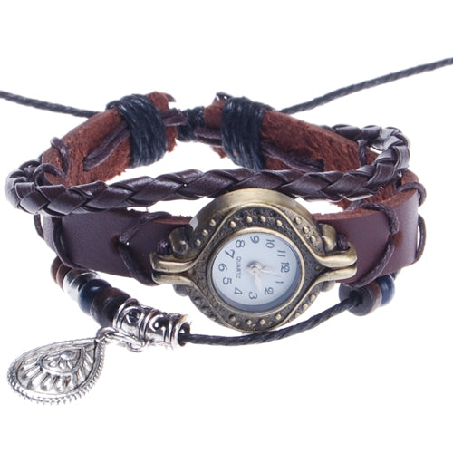 2013-2014 new arrival with Drop charm hand-knitted leather watches bracelet wrist watch,Round dial,Red Coffee Color,sold 10pcs per pkg