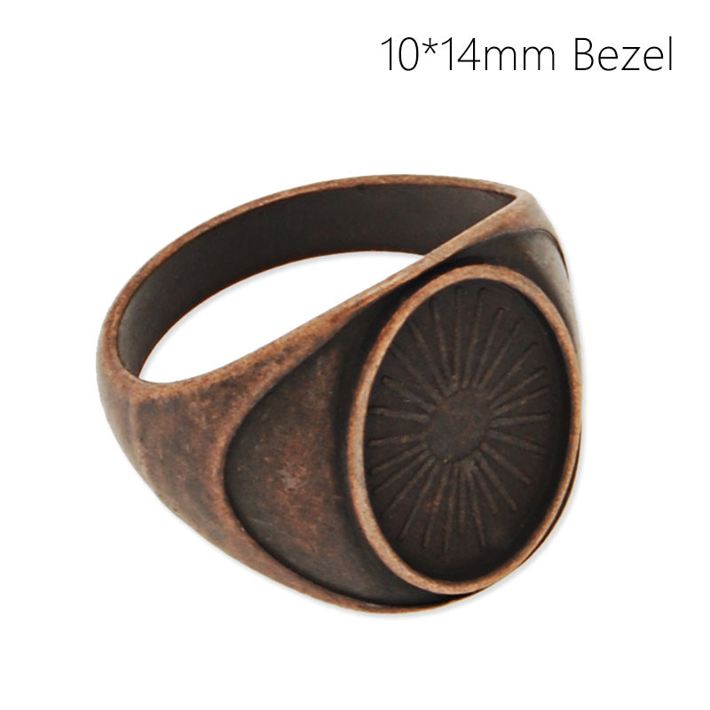10*14MM Blank Oval Bezel Setting,Antique Copper Brass Ring Blank,Ring diameter 17.5mm,Sold 20PCS/Lot