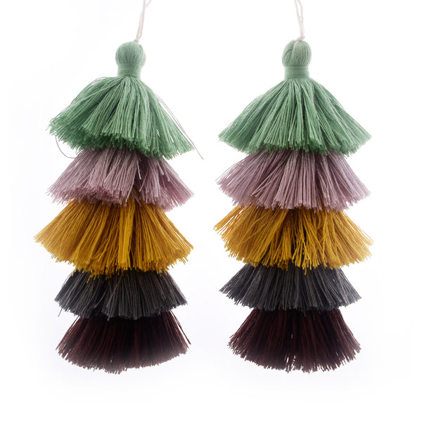 Wholesale Layered Tassel Pendant Five Tier Colorful Cotton Tassel for Earrings pendant handmade 2pcs 10192859