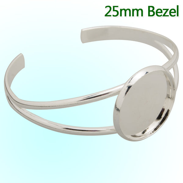 Bracelet Setting With 25MM Flat Round Bezel,Cuff,Adjustable,Silver  Plated,Lead Free And Nickel Free,Sold 10PCS Per Lot