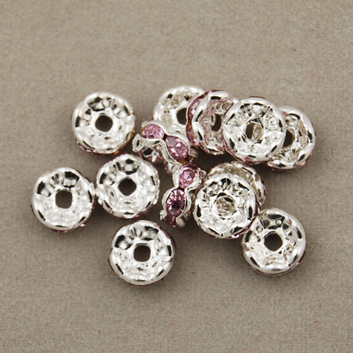 6MM Diameter Rhinestone Spacer Beads,Pink,Brass,Silver Plated,Thick About 3MM,Hole:About 1MM,Sold 100 PCS Per Package