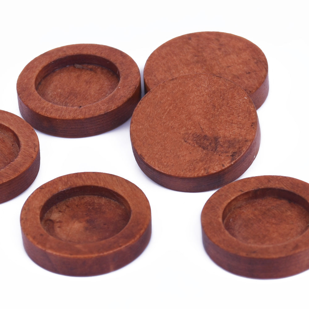 12mm Round Wooden Pendant Tray Bezel Setting Blanks wood Bezel Cup unfinished wooden jewel supply red coffee 20pcs