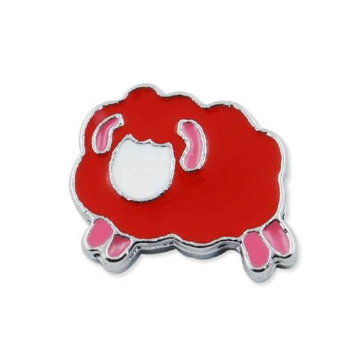 14.74*17MM Dark Red enamel Aries Slider Charm Beads,Hole Sizes:8*2 MM,Rhodium Plated,lead Free and Nickel Free