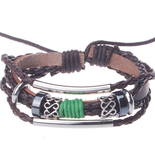 2013-2014 Summer hot sale promotional gifts Double elbow beaded hand-woven  leather bracelet,Deep Coffee,sold 10pcs per pkg