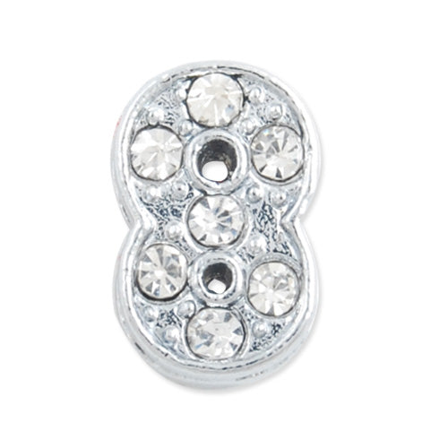"12*7.5*5 MM Clear Crystal Rhinestone Number ""8"" Slider Charm Beads,Hole Sizes:8*2 MM,Silver Plated,lead Free and Nickel Free,Sold 50 PCS Per Package"