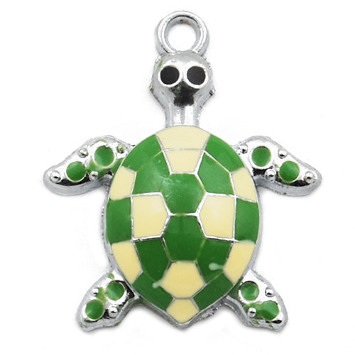 Tortoise Enamel Charms,Green,height 29mm,width 24mm,thick 5.2mm,Sold 20 PCS Per Package