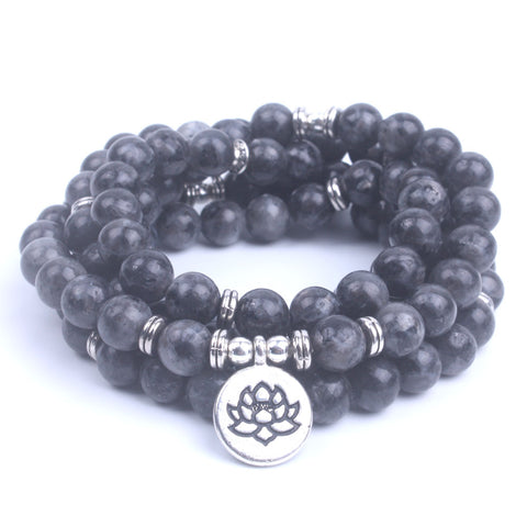 108 mala Labradorite Lotus OM Buddha Charm Yoga Bracelet/Necklace Natural stone jewelry