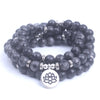 Image of 108 mala Labradorite Lotus OM Buddha Charm Yoga Bracelet/Necklace Natural stone jewelry