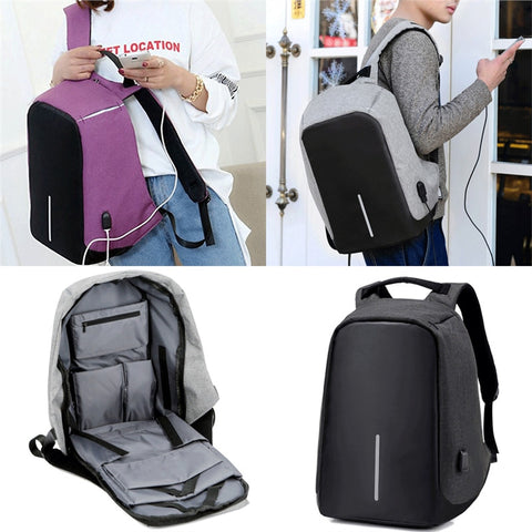 Anti-theft Backpack With USB Charge Port Concealed Zippers And Waterproof