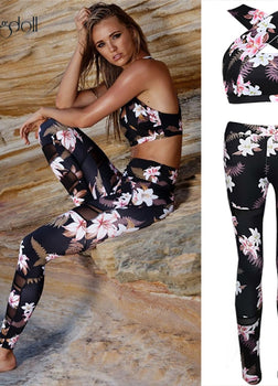 Tracksuit For Women 2 Piece Yoga Set Floral Print Women Bra+Long Pants Sportswear
