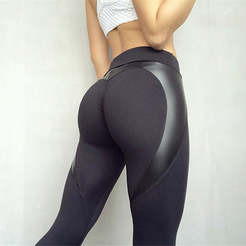 Black Heart Shape Booty Sport PU Leather Patchwork Skinny Pants Women Yoga Leggings Push Up Workout