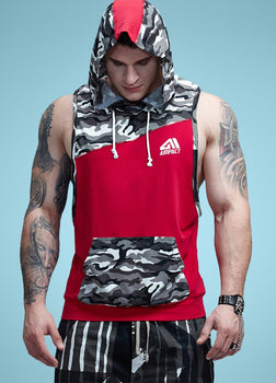 Aimpact Men's Camo Cotton Tank Tops Fitness Sleeveless Hoodie Crossfit