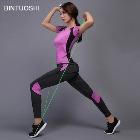 BINTUOSHI Women Yoga Set Fitness Clothes Tennis Shirt+Pants Running Tight Jogging Workout