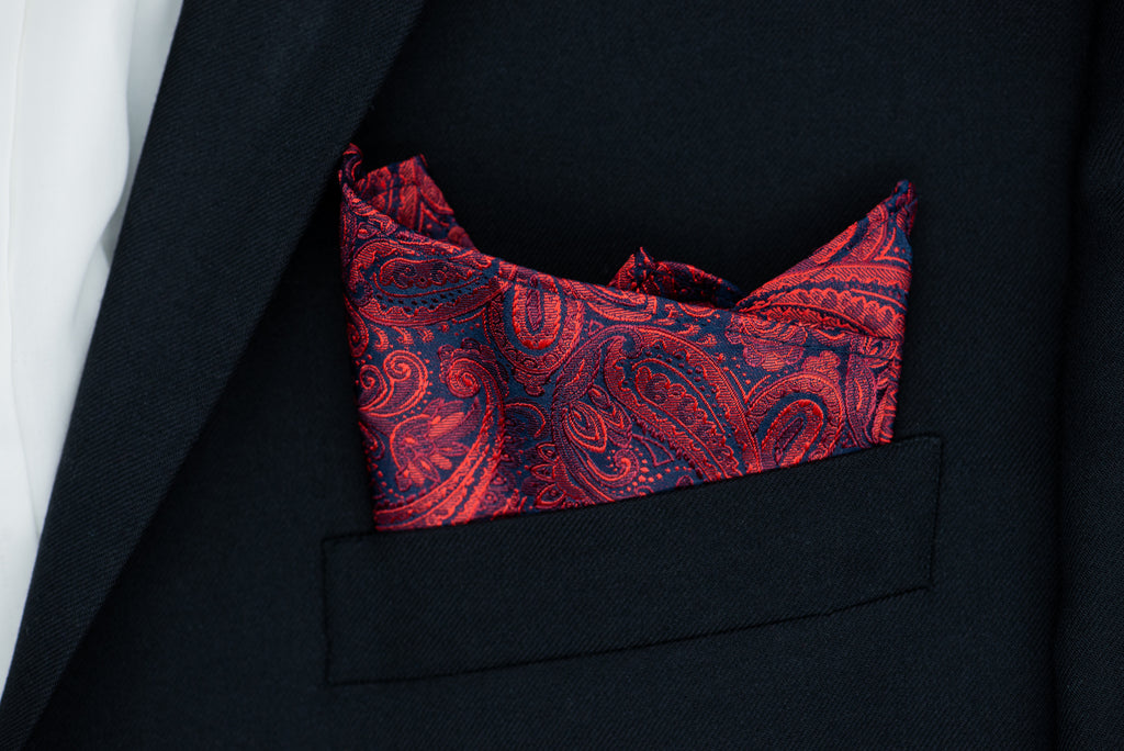 Silk Pocket Square - Paisley red, black background, burgundy floral