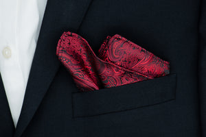 Silk Pocket Square - Black background, red floral paisley, burgundy patterns