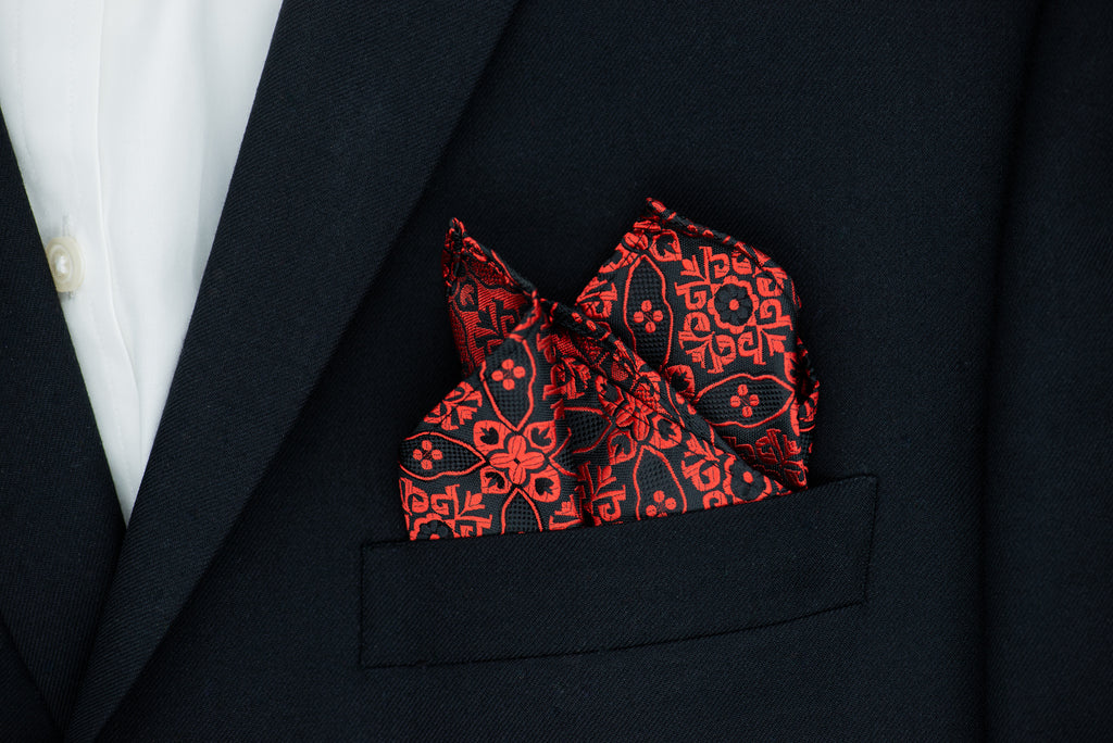 Silk Pocket Square - Black self patterned background, burgundy stitch pattern
