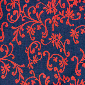 Silk Pocket Square - Dark blue background, red floral leaf pattern