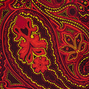 Silk Pocket Square - Burgundy background, red & gold paisley pattern