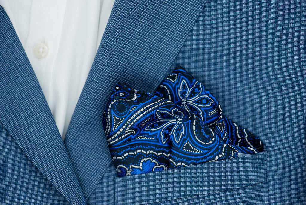 Silk Pocket Square - Black background, silver and electric blue stitch, large paisley pattern