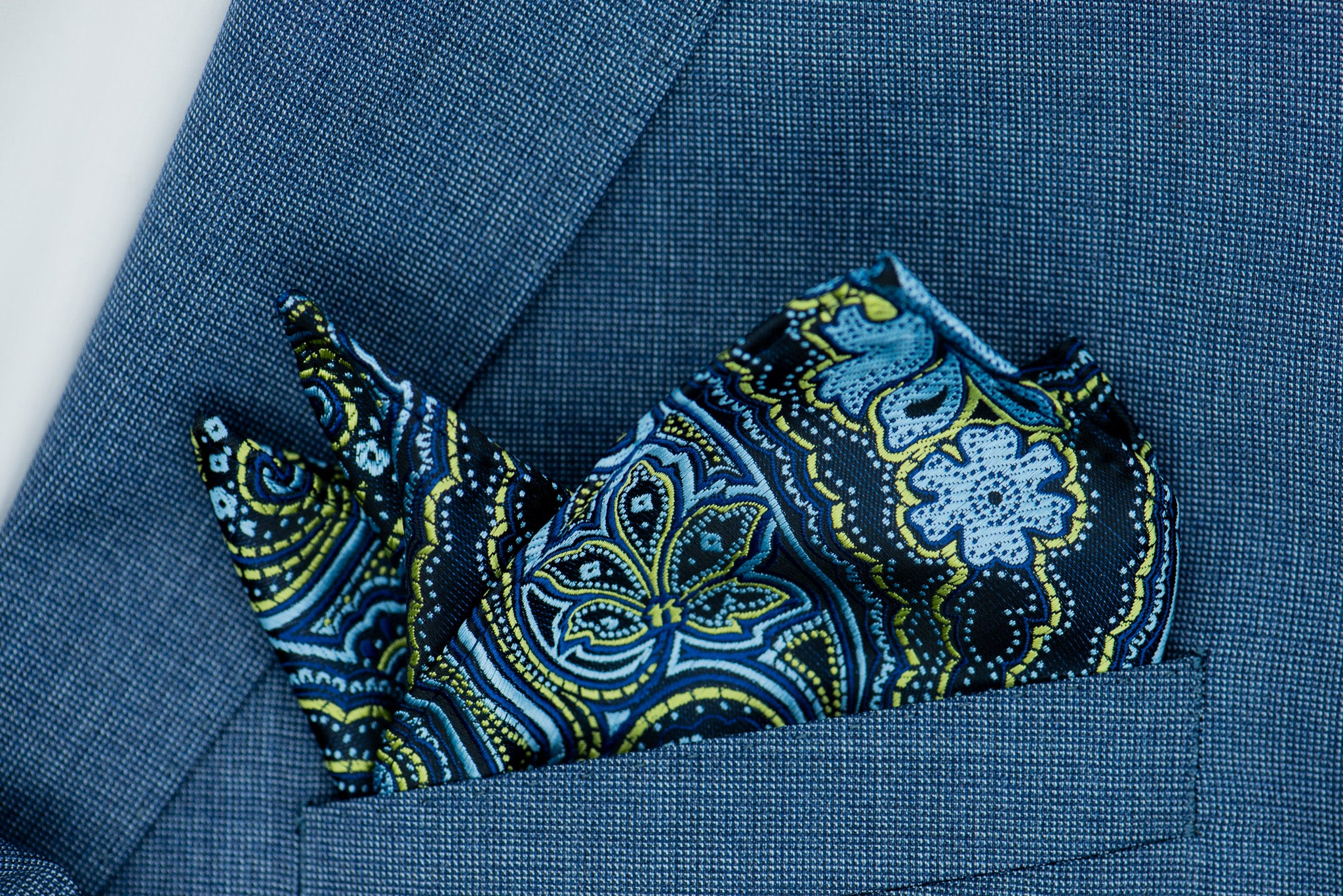Silk Pocket Square - Black background, sky blue patterns, yellow lime patterns