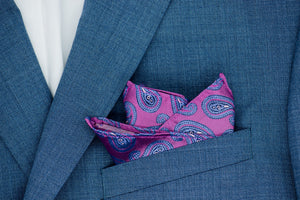 Silk Pocket Square - Magenta background, dark pink & lavender stitching, paisley pattern