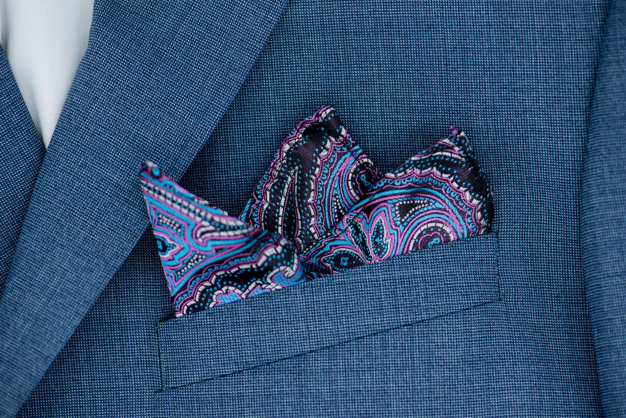 Silk Pocket Square - Burgundy background, purple, blue, lavender, blue stitching